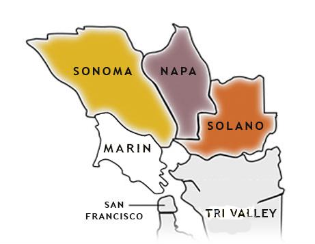 Sonoma, Napa, Solano County map